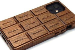iPhone 12 mini用 板チョコ型木製ケース