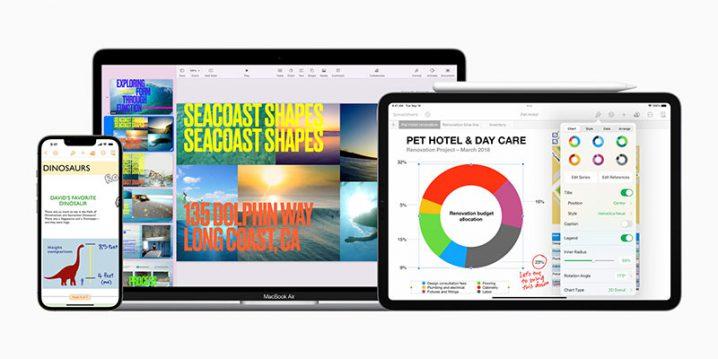 KeynoteとPages、Numbersが表示されたiPhoneとiPad、Mac